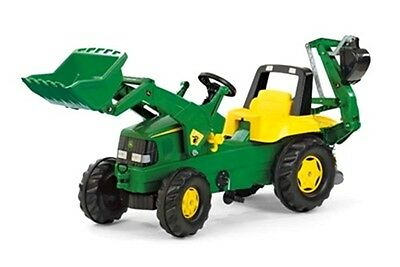 New Rolly Toys John Deere Large Pedal Tractor with Loader and Back Hoe Digger 3+