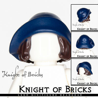 Lego New Dark Blue Minifig Hair Combo Hat with Hair Soft Folded Brim Wig Piece