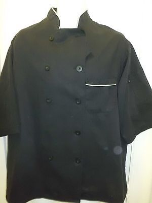 Chef Apparel Unisex Short Sleeve Chef Jacket Sz L Unisex Black Chef Jacket
