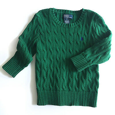 Ralph Lauren Polo Boys Toddler Kids Cable-Knit Cotton Sweater, Green, 3T - EUC!