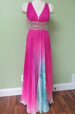 Fuschia Pink Gown W/ Elaborate Rhinestone Trim Detail/ New Without Tags/ Small