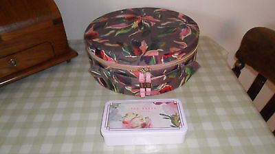 Ted Baker Dark Purple Floral Zip Round Vanity Case And Nail Varnishes