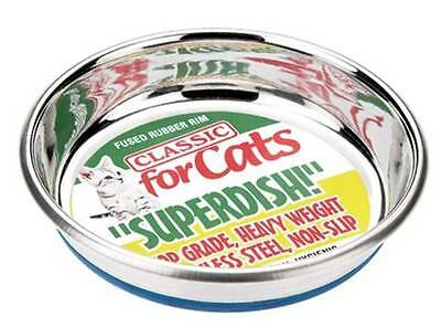 Cat Non-Slip Stainless Steel Dish Superdish Rubber Rim 5in or 6in Classic