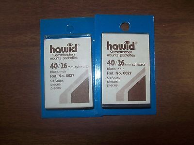 3 Packages HAWID Stamp Mounts Size 40/26 in BLACK Background