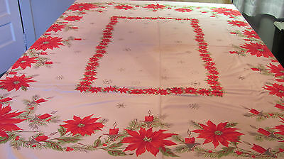 True Vintage Christmas Tablecloth Bold Poinsettias Candles Cutter 52x58 X26