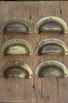 6 Vintage Reclaimed Brass Cup Handles old drawer pulls knobs table kitchen pine