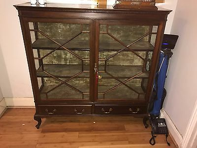 Antique Edwardian Inlaid Glazed Display Cabinet With Key