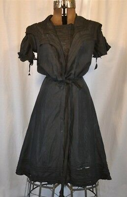 Bathing suit dress Victorian Paris Bon Marche black silk antique original 1890