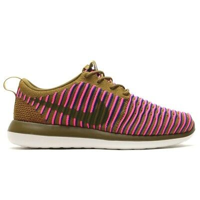 06cea968e75c Nike Roshe Two Flyknit New Womens Size Running Shoes Olive Pink 844929 300