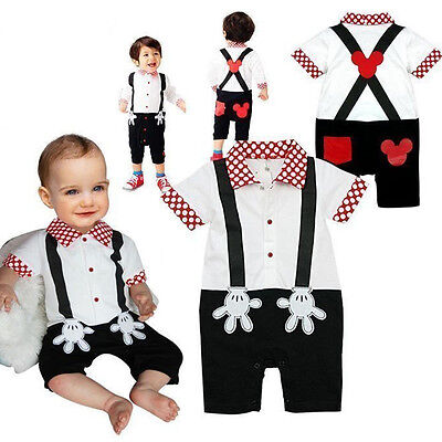 1st Birthday Cake Smash Outfits Mickey Mouse Baby Boys Jumpsuit Bodysuit Romper