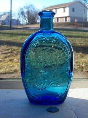 Nice Blue Wheaton Bottle Embossed, The Father Of His Country Washington