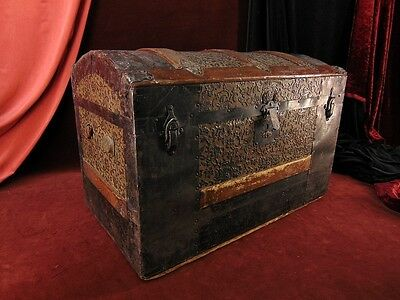 1800's Antique Pressed Embossed Tin Steamer Trunk Dome Top Chest