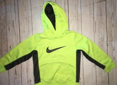 Nike Boys Size 6 Therma Fit Hoodie Sweatshirt Neon Yellow Gray Youth *PLAY COND*