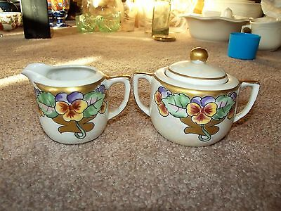 Antique Creamer & Sugar bowl Set, Hand painted victorian Pansy Iridescent gold