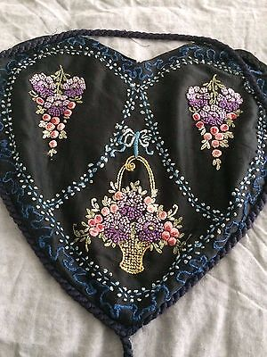 Victorian era Heart shaped cushion cover from the USA beautiful work needs tlc.