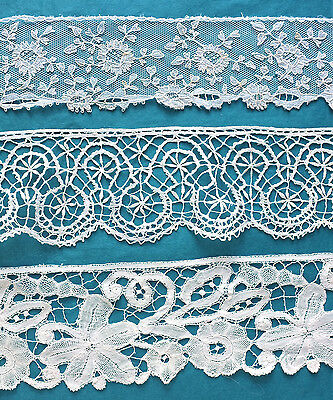 3 lengths antique/vintage hand made lace - projects