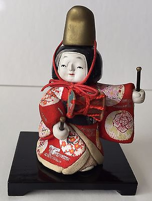 Antique Japanese Small Gosho Ningyo Standing Doll With Drum