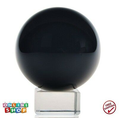 """1 Pcs New Black Crystal Ball Magic Orb Sphere Bezircle 2-4/11"""" DIA with K9 Stand"""