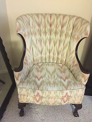 Wing Channel Back Chair - Ball and Clawfeet - exceptionally clean upholstery