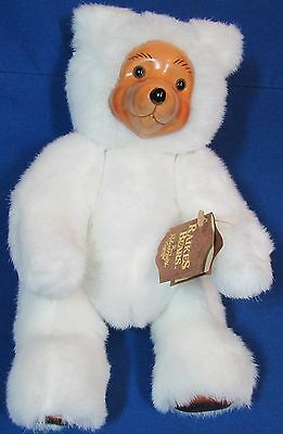 Raikes Wood Face White Plush – Signed Bear at Disney 1988 – Terry 12 Inches