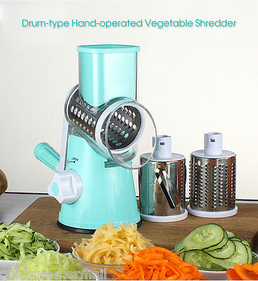 Kitchen Drum-type Hand-operated Manual Vegetable Cheese Shredder Device Sky Blue