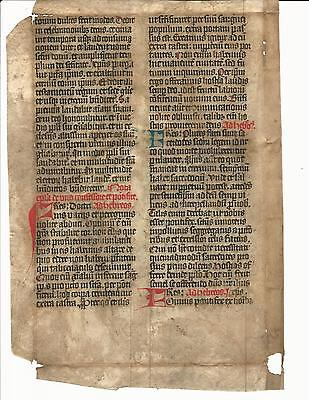 """Beautifully Penned Medieval Manuscript Leaf 9.5 X 14"""""""