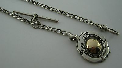 Vintage Sterling Silver Pocket Watch Chain with Fob - 14.5 Grammes