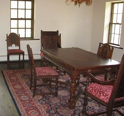 Antique Oak Refractory Dining Room Set With 6 Carved Floral Design Chairs