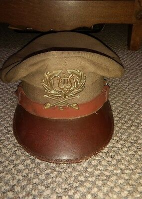WWII Army Officers Crusher Hat with Insignia Pins