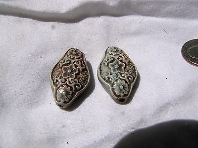 old Asian antique ceramic jewelry beads (2) Chinese