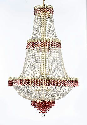 Moroccan Style French Empire Crystal Chandeliers Lighting Trimmed with Ruby Red