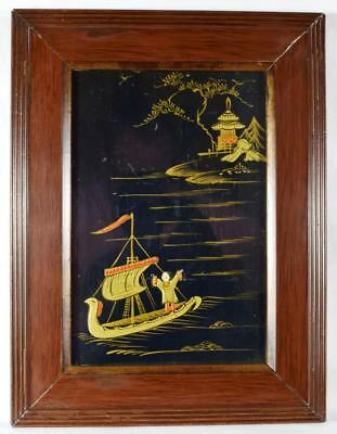 Antique Japanese Lacquered Painting Period Frame c.1900s to 1910s