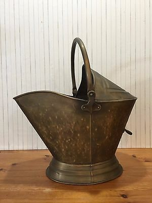 Vintage Handled Coal Scuddle Bucket Brass Firplace Tool Ash Bucket