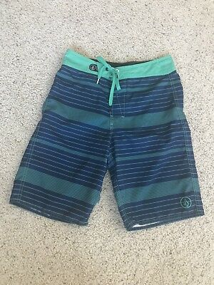 Volcom Boys Youth 28 Sz 16 Blue Green Swim Trunks Board Shorts