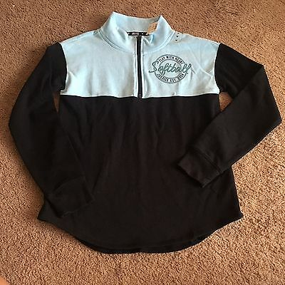 NWT Justice Girls Size 16 Blue & Black Softball Pullover Sweatshirt