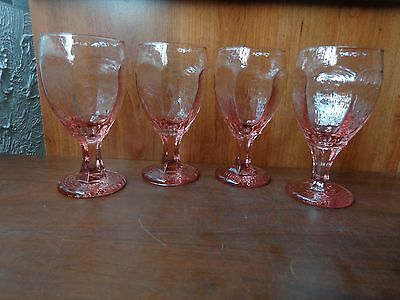 4 Libbey Rock Sharpe Chivalry pink tint water glasses goblets chalices