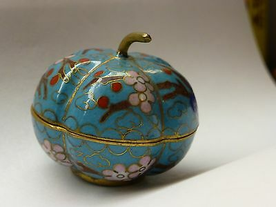 Small pumpkin shaped cloisonne Trinket Box Covered Jar Blue Enamel with stem