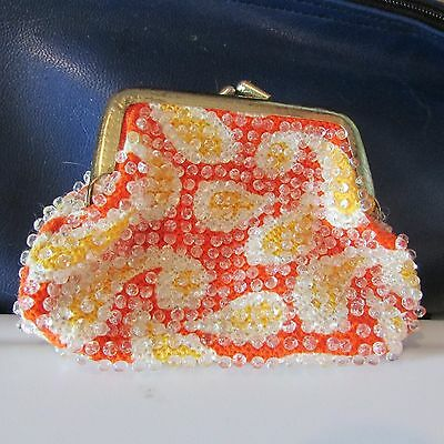 Vintage Paisley Orange & Yellow Beaded Coin Purse