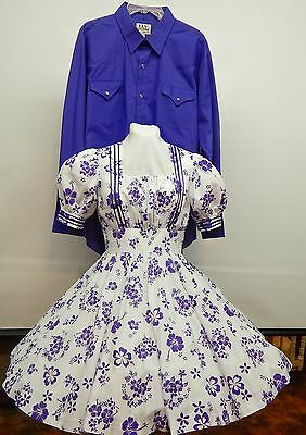 Purple And White Floral Square Dance Dress And Shirt