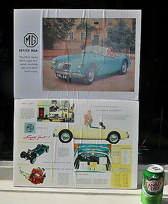 "TWO LARGE 12"" x 16""  Vintage MG MGA COLORFUL ADVERTISING PRINT AD POSTERS !"