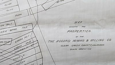 1920's Clear Creek County Colo. Accord Mining & Milling Company Velume Claim Map