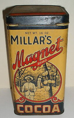 Millars Magnet Advertising Cocoa Tin Metal Can 1 Pound Flip Lid Chicago