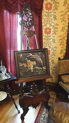 "Super-tall, fancy hand-carved Solid Mahogany Victorian Style Easel 88"" paintings"