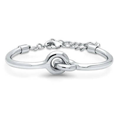 BERRICLE Silver-Tone Interlocking Fashion Link Bracelet