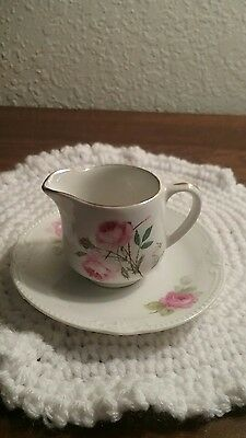 Old Foley Mini Creamer And Saucer-Roses