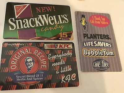(3) Kentucky Fried Chicken,SnackWells and Planters/Life Savers/Bubble Yum/CareFr
