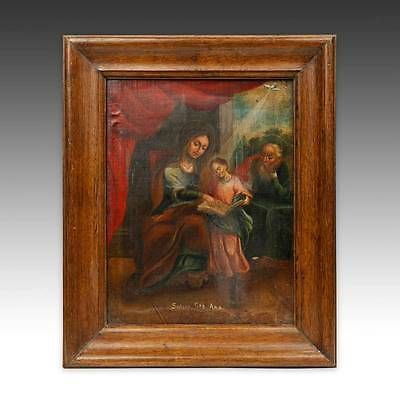 Antique Votive Ex Voto Retablo Devotional Painting Canvas Folk Art Mexico 19Th C