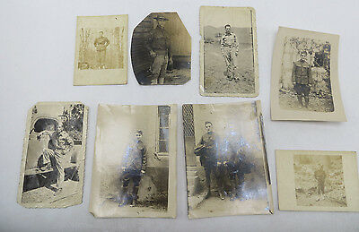 Vintage Lot of 8 Photos - WWI & WWII Era Men in Military Uniform