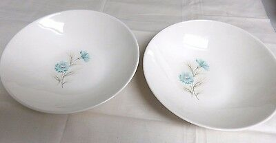 "1960s Boutonniere Taylor Smith-2 Sm. Serving Bowls-8.5"" Blue Bachelor Buttons"