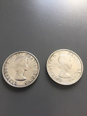 1960 Canada Silver Dollars (Set of 2) 80% Silver